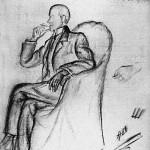 Н. Шведе-Радлова. Поздний портрет Н.С. Гумилёва. Рисунок. 1920 г.