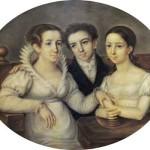 Кузина писателя – Евгения Андреевна Глинка, с детьми, Михаилом (в будущем - композитор) и Пелагеей