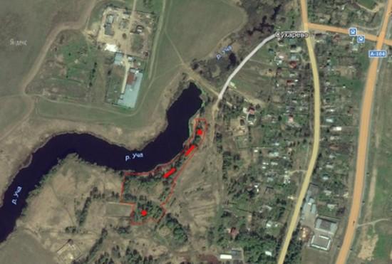 Схема расположения обнаруженных позиций, прикрывавших переправу через р.Уча (красным цветом отмечены: линии – окопы, точки – колпаки ЖБОТ)