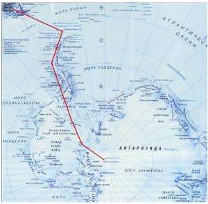 Маршрут полёта в Антарктиду, на Южный полюс