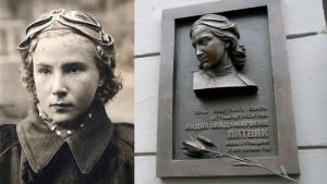 Фотография и барельеф Героя Советского Союза Лидии Литвяк - лётчика-истребителя