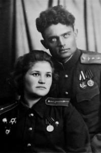 Супруги Г.С. Бельцов и Г.П. Брок-Бельцова 7 ноября 1945 года, город Паневежис
