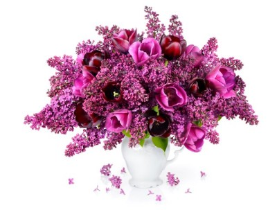 Tulips and Lilac bouquet