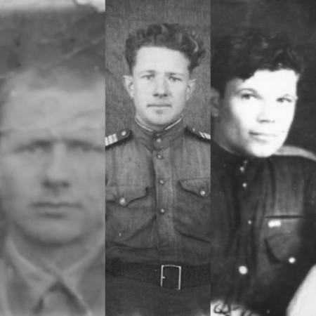 Слева направо: Устюжников Григорий Ефимович (1918-...), Устюжников Борис Ефимович (1924-...), Кормин Константин Иванович (1918-1996)